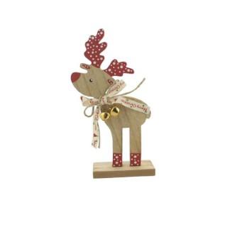 Sujet décoratif de noël Renne en bois naturel et rouge H 19 cm 410322