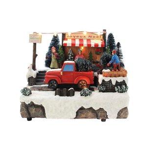 Scène de Noël lumineuse à Led 230 V Marché aux sapins L 53 x H 51 cm 410424