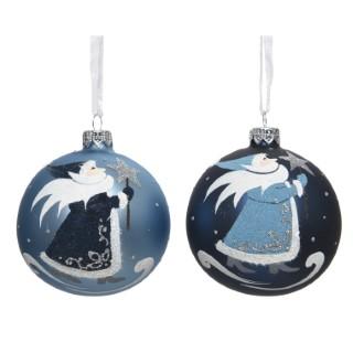 Boule décorative en verre Bleu avec motif Noël Ø 10 cm 410494