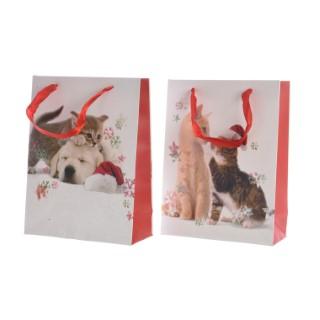 Sachets cadeau en papier décoration chats - format moyen 410541