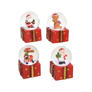 Boules à neige LED sur socle en forme de cadeau Ø 4,5 cm 410592