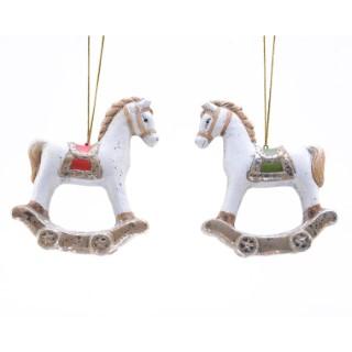 Décoration à suspendre Cheval à bascule blanc 10 cm 410626