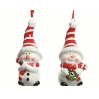 Décoration de Noël à suspendre Bonhomme de neige blanc et rouge 410631