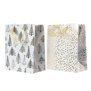 Sachets cadeaux en papier blanc et or – taille moyenne 410655