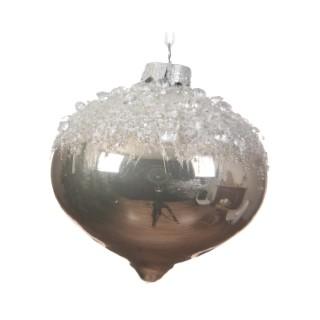 Boule de Noël énorme en verre Forme Toupie Argent Ø 12 cm 410689