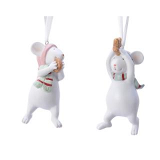 Ornement de Noël à suspendre Souris blanc 410737