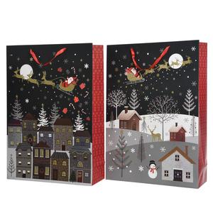 Pochette cadeau noire Village - 18x50x72 cm 410742