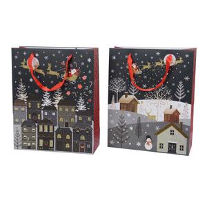 Pochette cadeau noire Village - 8x24x18 cm 410747