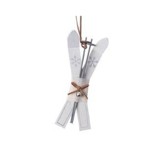Ornement à suspendre Skis en contreplaqué Blanc 2x6x17 cm 410750