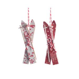 Ornement à suspendre Paire de skis rouge et blanc 1,5x9x16,5 cm 410845