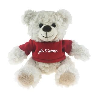 Ours écru t-shirt rouge « Je t'aime » - 15 cm de haut 411606