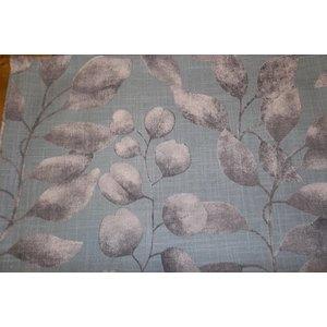 Nappe bleue motif feuilles gris en coton 150x250 cm 412002