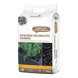 Graviers décoratifs de marbre noir ébène 7 à 15 mm en sac de 10 kg 415887