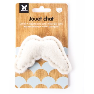Peluche en feutrine pour chat Ailes d'ange blanches 10 x 6 cm 416493
