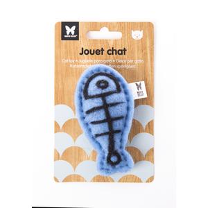 Peluche en feutrine pour chat Poisson bleu 9,5x5 cm 416495