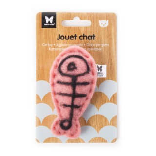 Peluche en feutrine pour chat Poisson rouge 9,5x5 cm 416496