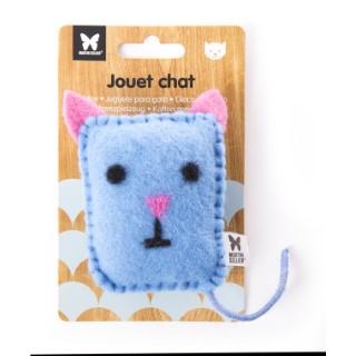 Peluche en feutrine pour chat - Chat bleu 9 x 6 cm 416498