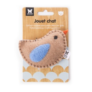 Peluche en feutrine pour chat Oiseau marron 9 x 6 cm 416499