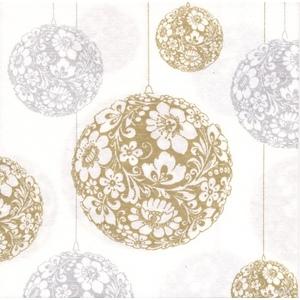 Serviettes x20 intissé boules de Noël 40x40 cm 417404