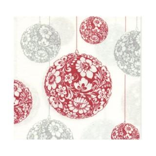 Serviettes x20 intissé boules de Noël 40x40 cm 417405