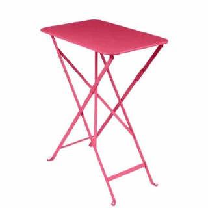 Table pliante rectangulaire bistro rose en acier 57 x 37 x 74 cm 417938