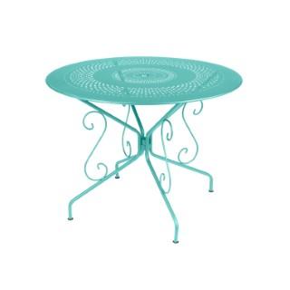 Table Montmartre Fermob en acier coloris bleu lagune Ø 96 cm 418054