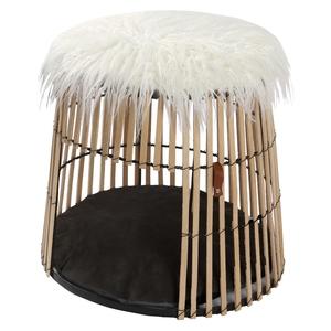 Niche pour chat bois naturel Bambou Wouapy – 45 x 38 cm 419236