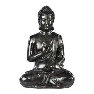 Bouddha hindou MM  béton coulé ton ciré noir H40,5 cm 419881