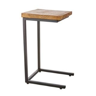 Table d'appoint carrée en teck et métal 32 x 32 x 57 cm 420015