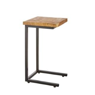 Table d'appoint rectangulaire en teck et métal 28 x 30 x 51 cm 420016