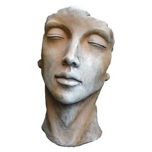 Statue de visage de femme effet demi-rouille coloris gris 53 cm 420252