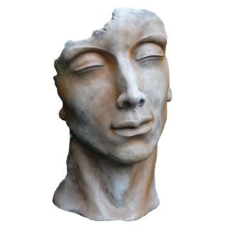 Statue de visage d'homme effet demi-rouille coloris gris 115 cm 420259
