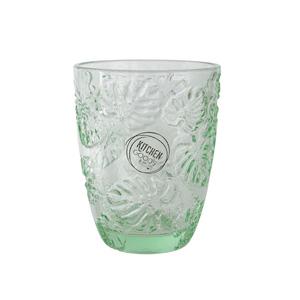Verre motif feuille en verre transparent vert H 10,5 x Ø 8,3 cm 420942