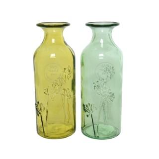 Vase en verre coloré recyclé jaune ou vert Ø 7 x H 19 cm 421005