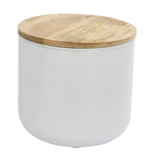 Table d'appoint blanc et bois petit modèle 421052