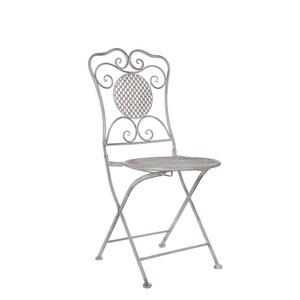 Chaise pliante Provence blanche en métal 53x40,5x90,5 cm 421475