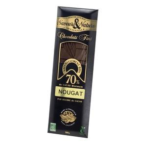 Chocolat noir aux éclats de nougat bio en tablette de 100 g 429588