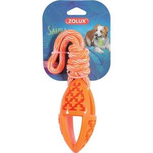 Jouet pour chien Samba ovale 28 cm en TPR et corde orange 441498