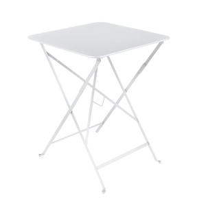 Table carrée pliante Bistro Fermob en acier coloris blanc coton 57 x 57 x 74 cm 450368