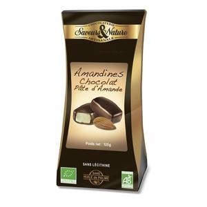 Amandines au chocolat et à la pâte d'amande en ballotin de 125 g 450909