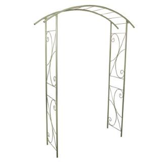 Arche double de jardin avec décor volute vert olive 452160