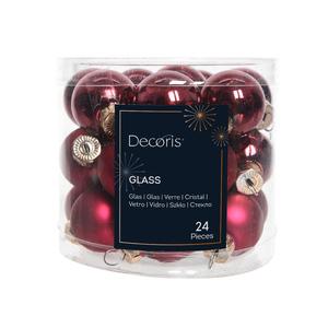 Boite de 24 mini-boules en verre brillant-mat bordeaux 471980