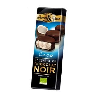 Bouchées de noix de coco enrobées de chocolat noir 45 g 48273