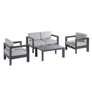Salon bas Faro coloris noir mat et gris clair 487273