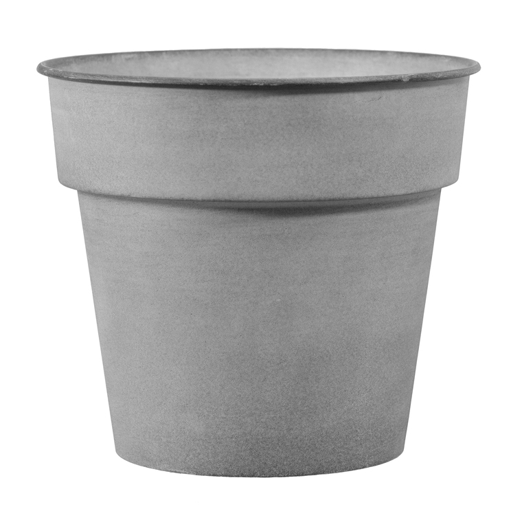 Pot horticole en acier peint gris clair Ø 19 x H 17 cm 400018