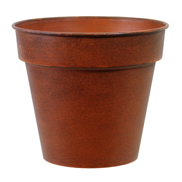 Pot horticole en acier peint brun antique Ø 19 x H 17 cm 400024