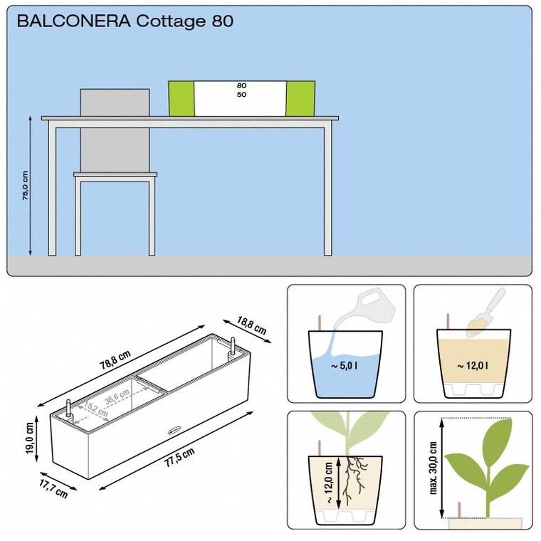 Bac 80cm Balconera kit complet moka Lechuza L.80 x l.19 x H.19cm 40067