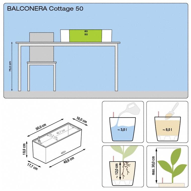 Bac 50cm Balconera kit complet granit Lechuza L.50 x l.19 x H.19 cm 40069