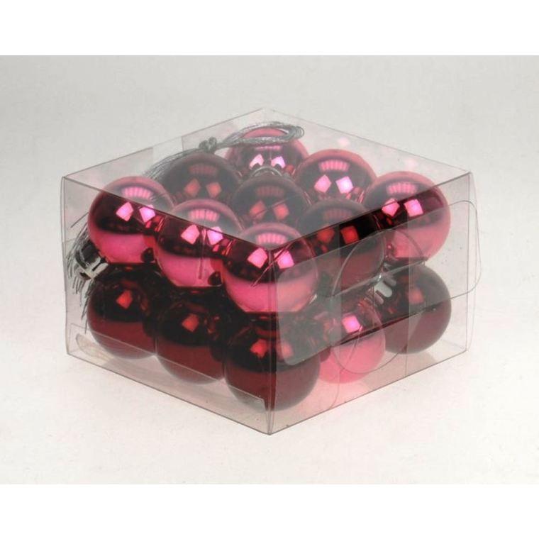 Boite 18 Boules Plastique  Ø3 cm Rouge 632769