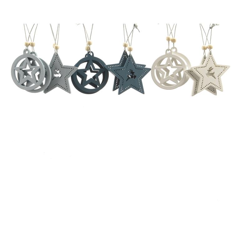 Étoile motif cerf à suspendre en bois bleu 406647